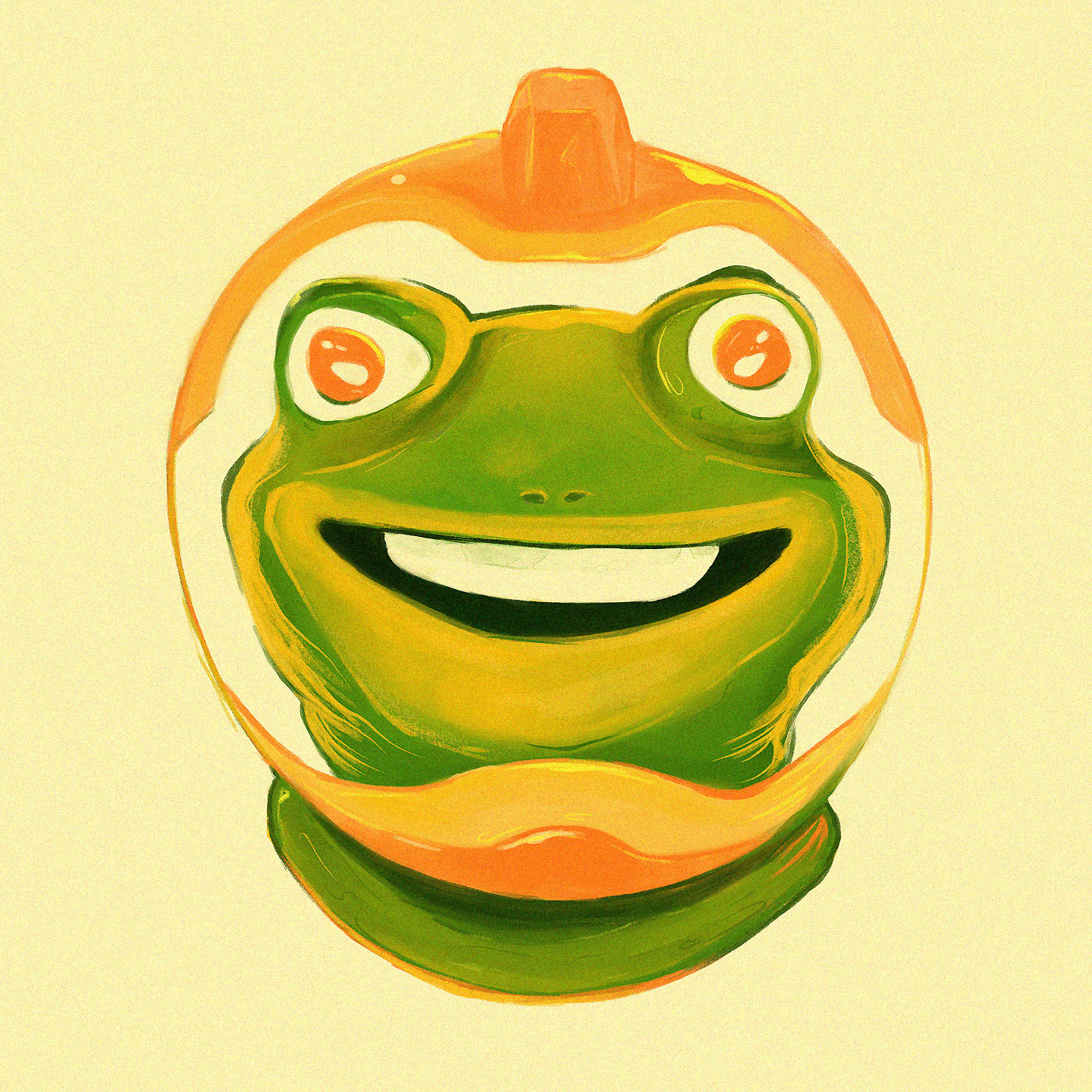 Frog, with human teeth, smiling